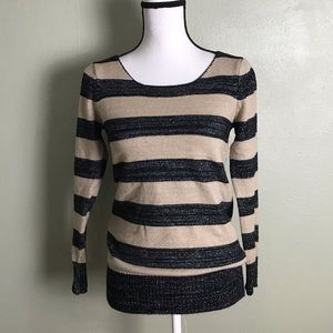 Metaphor Tan Black Stripped Pullover Sweater Top M